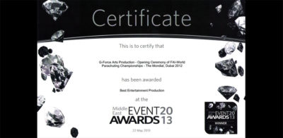 Award 01 Best Entertainment Production at the Middle East Event Awards 2013 Certificate