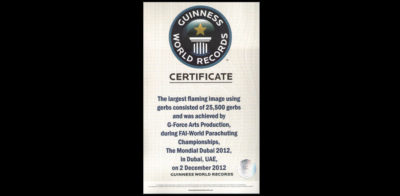 Award 03-Guinness World Records, FAI - World Parachuting Championships - The Mondial Dubai 2012