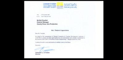 Award 20-F1 World Powerboat Championship 2005 Certificate